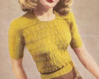 Smocking Effect Jumper Vintage Knitting Pattern 295