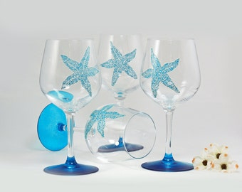 Sea star - Starfish wine glasses - Set of 4 hand painted glasses - Sea Glass Collection