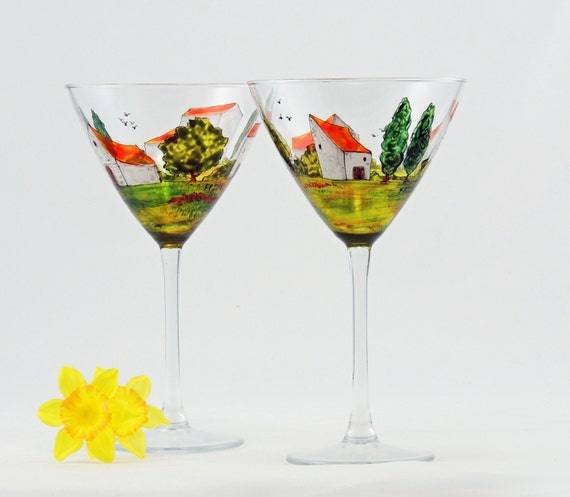 Martini glasses - Set of 2 hand painted glasses - Village Provencal collection