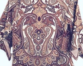 Vintage 80s stretch rayon paisley top