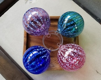"Blown Glass Ornaments, Set of Four 3"" Decorative Balls with Loops, Holiday Decor, Sun Catchers, By Avalon Glassworks"