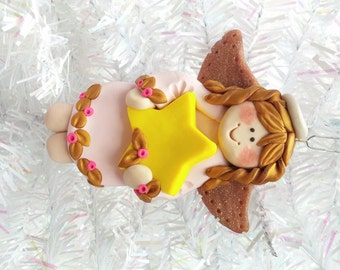 Handmade Angel Ornament - Polymer Clay Angel Christmas Ornament - Package Topper - Angel Collector Ornament - Angel Collector Gift - 8109
