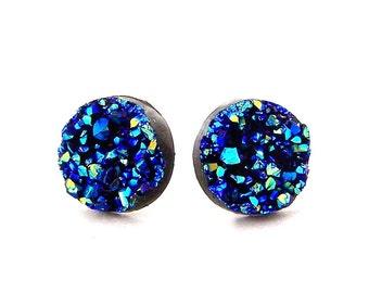 Blue faux druzy stud earrings, titanium blue resin druzy earrings, blue and black druzy posts, blue drusy