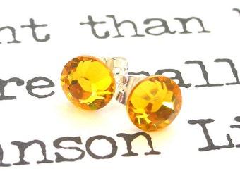 Sunflower yellow crystal studs, 7mm Swarovski post earrings, small spring fashion, dainty feminine gift for her, wedding jewelry