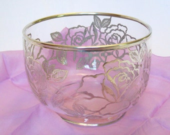 Vintage Glass Bowl Silver Roses Line Decoration DIY Wedding Centerpiece Vase Bridal Shower Container Silverplate Glass Table Setting Decor