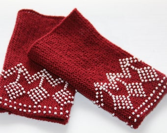 Hand knitted beaded lithuanian traditional red wrist warmers, tree pattern, red wool, white beads, arm warmers, lithuania