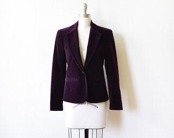 purple velvet blazer, vintage 1980s blazer,  80s fitted blazer, small s