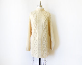 long fisherman's sweater, vintage cable knit sweater, 90s chunky wool sweater, large l