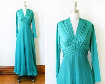 70s disco dress, vintage accordion pleated chiffon maxi dress, teal green gown, xs/s