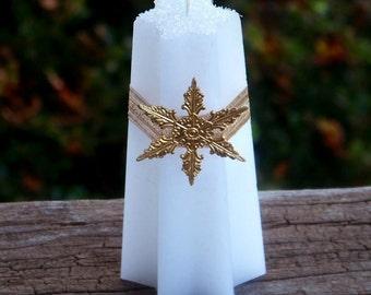 "NORTHSTAR™ ""Old European Witchcraft""™ German Golden Brass Lodestar Charmed Snowflake White Star Candle"