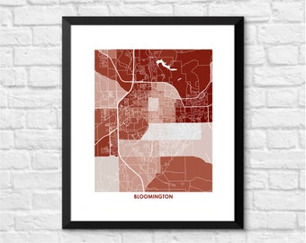 Bloomington Indiana Art Map Print.  Choose your size and color.  Perfect for your favorite Indiana University Hoosiers Fan.