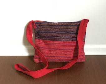 Red and Black Handwoven 'Hippie' Bag - Crossbody