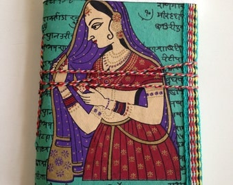 Royal Indian Queen, Blank Journal, Wife Gift, Mother Gift, Sister Gift, Mom in Law Gift, Daughter Gift, Turquoise, Girlfriend Gift, For Her