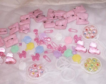 Baby Shower Favors Rattles Toys Pacifier Booties Girl Boy Party Decorations Lot