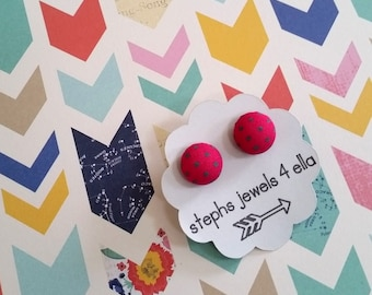 Hot Pink with Green Polka Dots Fabric-Covered Button Earrings