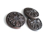 3 Wood brown carved ethnic flower pendants 1 1/2 inches diameter