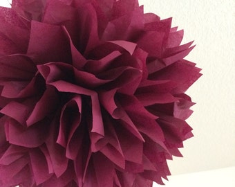 SANGRIA / 1 tissue paper pom pom / wedding decorations / diy / tissue paper decorations / burgundy decorations / pompoms / aisle marker poms