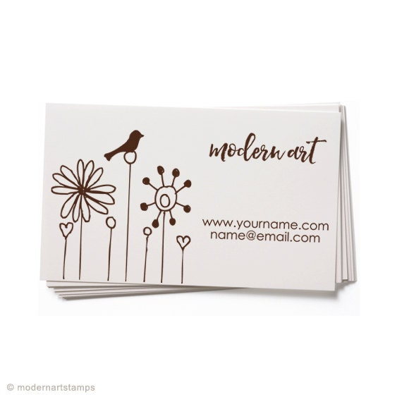 Business Card Stamp   Custom Rubber Stamp   Custom Stamp   Personalized Stamp   Bird with Flowers   Floral Stamp   Bird Stamp   BC38