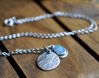 Sterling Opal Owl Necklace, Oxidised, Sterling Silver Charm Necklace - The Owl and The Opal