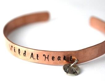 Wild At Heart Cuff, Feather Cuff,Cuff Bracelet,Charm Bracelet, Copper Cuff, Copper Bracelet, Boho Cuff, Womens Cuff, Hipster Bracelet