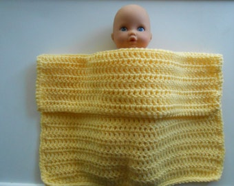 Crochet Doll Blanket Handmade Lemon Yellow