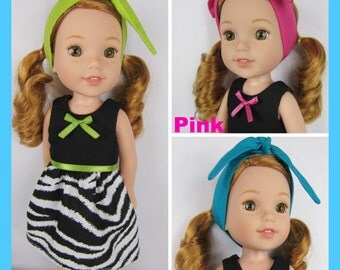 "14.5 inch doll clothes, Pick Your Color, Zebra doll clothes, Pink Limegreen Turquoise doll dress with headband, 14.5"" doll dress clothing"