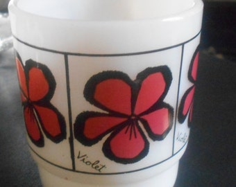 1 DAY SALE Fire King VIOLET Coffee Mug, Anchor Hocking Flower Cup