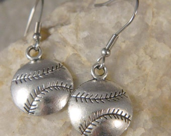 Metal Silver Baseball Earrings
