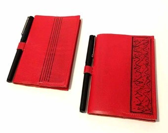 Leather Refillable Journal Notepad and Pen Holder Handmade