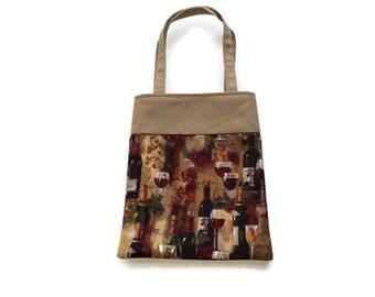 Handmade Fabric Wine Gift/Goodie Bag - Wine