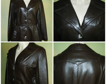 M L 38/40 Vintage 70s Heavy Glazed Leather Spy Girl Coat Dark Brown Smooth Leather Western Button Front
