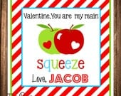 Valentine's Day Tags, You're My Main Squeeze, Printable Valentine Favor Tags, Apple Valentine's Day Tag, DIGITAL file