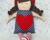 Dolls, Handmade Doll, Rag Doll, Soft Doll, Baby Doll, Valentines Day, Hearts, Free Shipping In The U.S.