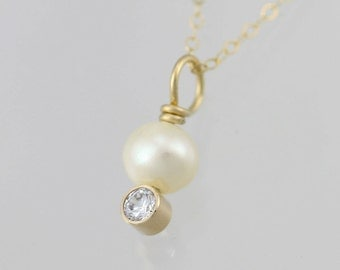 "Pearl Drop Neck w-Birthstone in 14ky gold (18"")"
