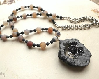 Drusy necklace with agate stone beads, beautiful soft earthtones