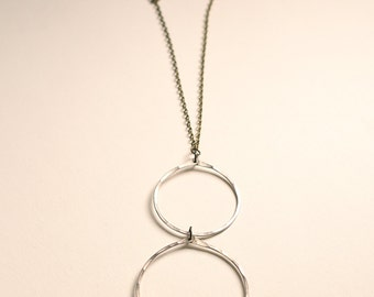 Double Silver Hoop Necklace