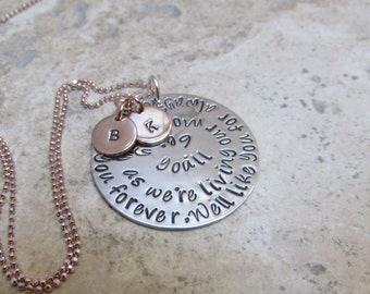 Just for MOM  in Sterling Silver and Rose Gold  -  We'll love you forever. We'll like you for always. Initial Disc for Each Child