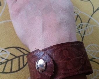 Reclaimed leather cuff bracelet