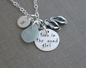 toes in the sand girl, sterling silver genuine sea glass charm necklace, personalized initial, flip flop charm, hand stamped