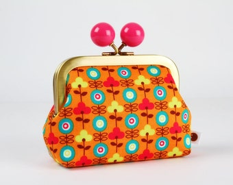 Metal frame coin purse with color bobble - Cute retro flowers on orange - Color dad / Japanese fabric / turquoise lime green hot pink