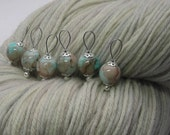 watercolor knitting stitch markers - snag free - sky blue and brown glass beads 10mm - set of 6 - two loop sizes available