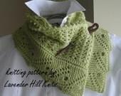 Lace Scarf Shawl - Knitting Pattern Downloadable PDF- Front Porch Fern Leaf Lace - scarf cowl shawl wrap -  pattern using sock yarn