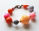 carnivale bracelet - vintage lucite, bold colors, orange bracelet, hot pink, one of a kind