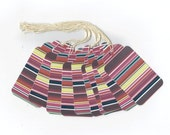 Multi Colored Stripes Gift Tags (10) PreStrung Scallop Top Hang Tags / GTL51 / Favor Bag Tags / Package Decor / Ready To Ship