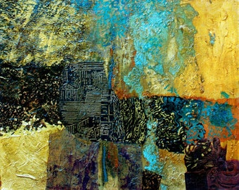 Abstract Collage Original Acrylic Painting, Mixed Media Art, Gold Metal Leaf, Modern Wall Decor, Collage Texture, Non Objective Art,  16 x20