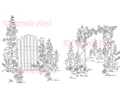 Garden Gate and Archway 2 Digistamps Instant download. Digital stamps. colouring pages