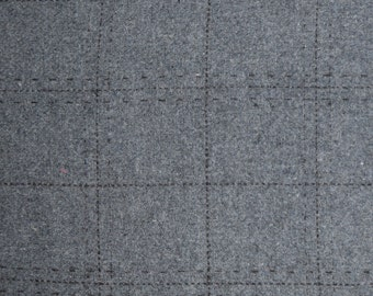 "1/3 Yard Gray Windowpane 100% Wool Suiting Fabric from B Black 60"" Wide"