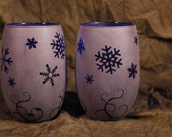 Cobolt Blue Snow and flourish Stemless Wine Glasses or Candle holders Set Of 2