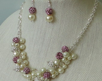 a BRIDES GIFT Pearl Cluster & Lavendar Rhinestone Bead  Necklace Set, WEDDing Bridal Necklace Set, Lavendar Rhinestone Bead Necklace Set