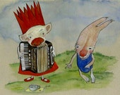 The Accordionist And The Hoofer / 11 x 14 Matted Archival Print / Street Musicians / Children's Art / Reduced